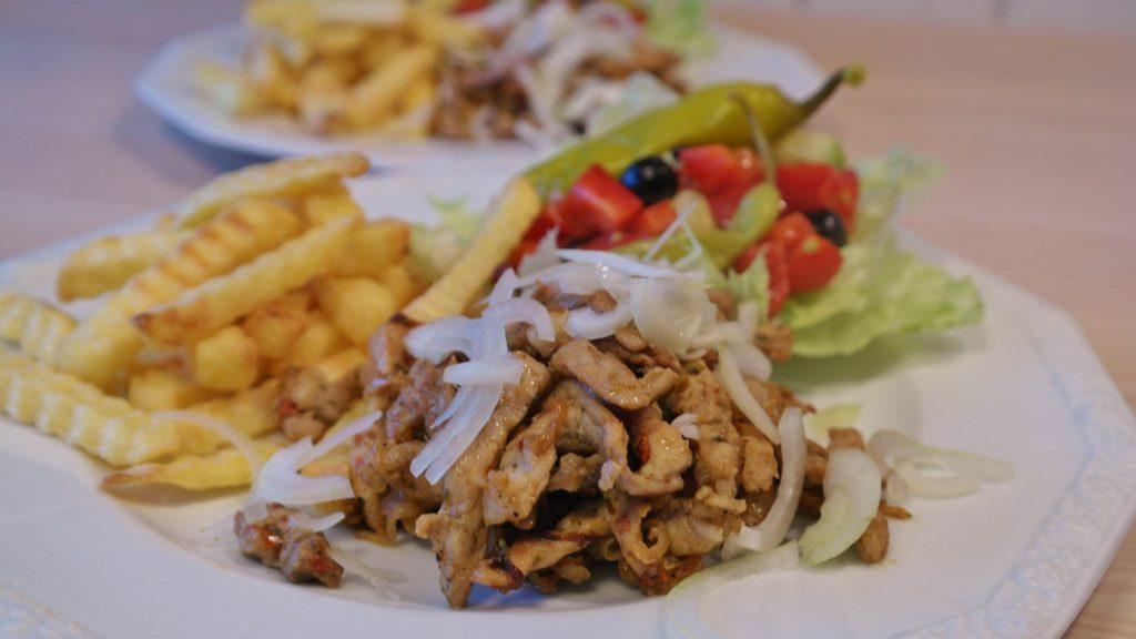 grcka, jelo, hrana, ukusi, meso, salata, pomfrit